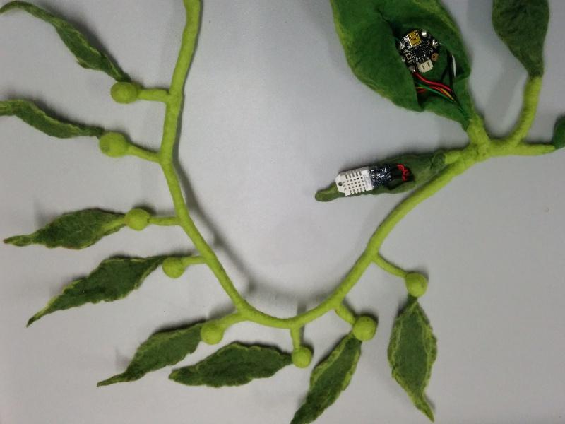 Kelp neckpiece laid flat, Gemma and humidity sensor still exposed
